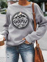Fun Printed Round Neck Long Sleeve Sweater