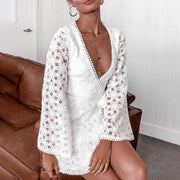 Fashion Long Sleeve Cardigan Deep V Lace Dress