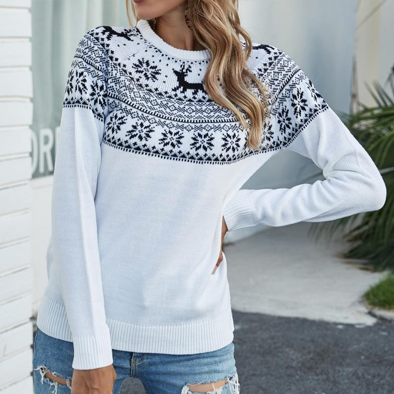 Christmas Snowflake Fawn Pullover Knitted Sweater