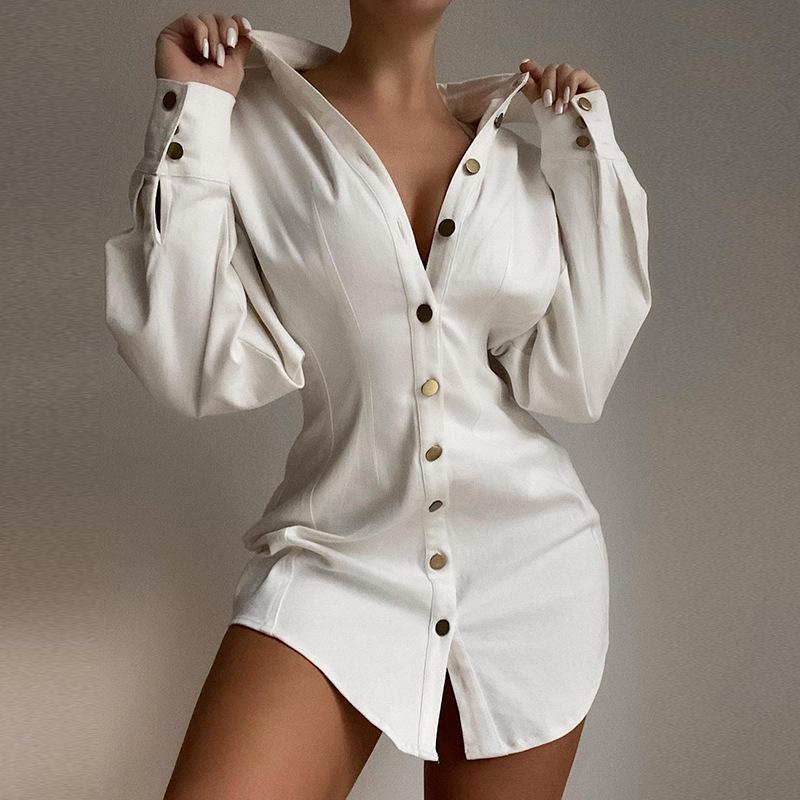 Button Design Long Sleeve Shirt Dress