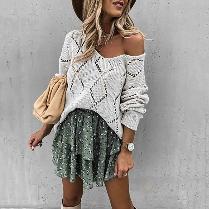 Casual Hollow V-Neck Sweater