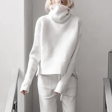 Load image into Gallery viewer, Casual High Collar Solid Color Sweater