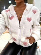 Load image into Gallery viewer, Heart Pattern Zip Hooded Teddy Coat
