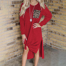 Load image into Gallery viewer, Leopard Print Stitching Slit Long Sleeve Dress