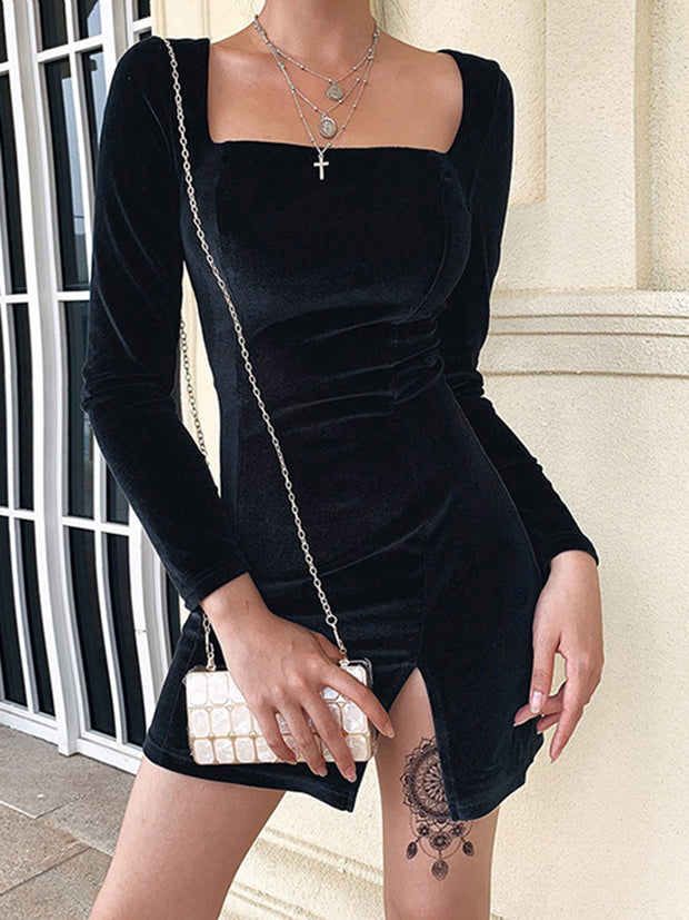 Women Square Neck Slit Design Velvet Bodycon Dress