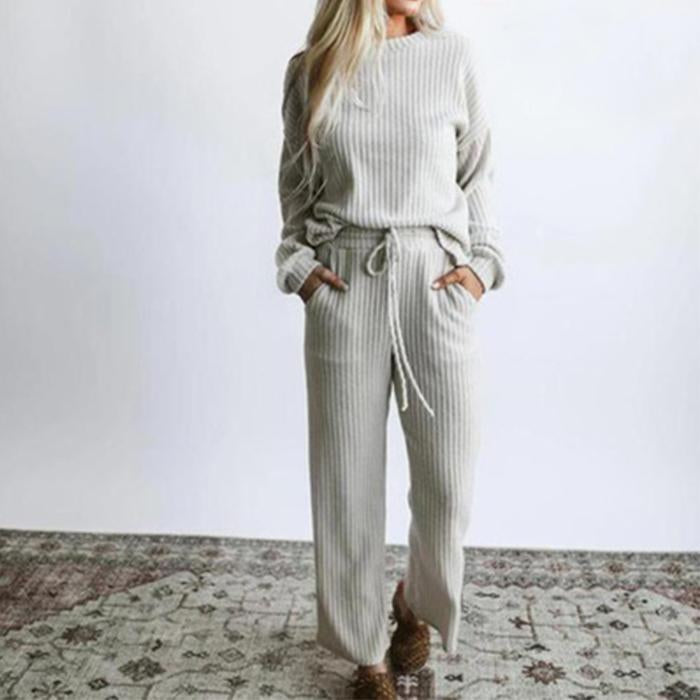 Casual Knitted Solid Color Top and Pants Two-piece Set