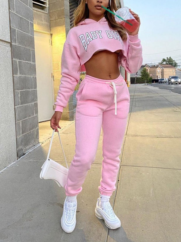 Solid Color Sweater Sports Letter Suit