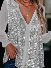 Load image into Gallery viewer, Casual Sequined V-neck Long Sleeve Blouse