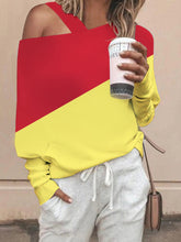 Load image into Gallery viewer, Cold Shoulder Color-block Batwing Tops