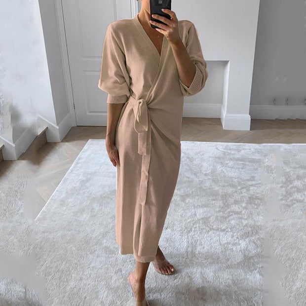 Slim-fit Slit Long Skirt Casual Solid Color V-neck Sweater Dress