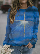 Load image into Gallery viewer, Casual Oil Painting Cross Print Sweatshirt