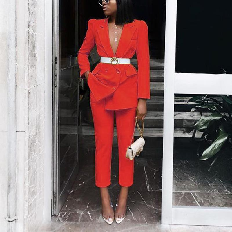 Women Solid Blazer Suit Sets