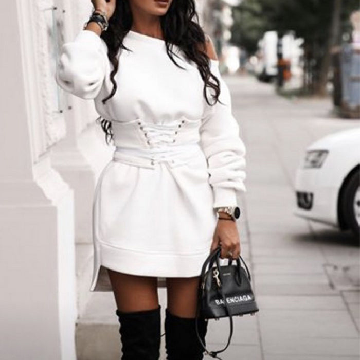 Sexy Round Neck Long Sleeve Sweater Dress