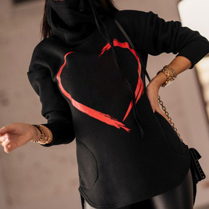Casual Love Print Hooded Sweatshirt