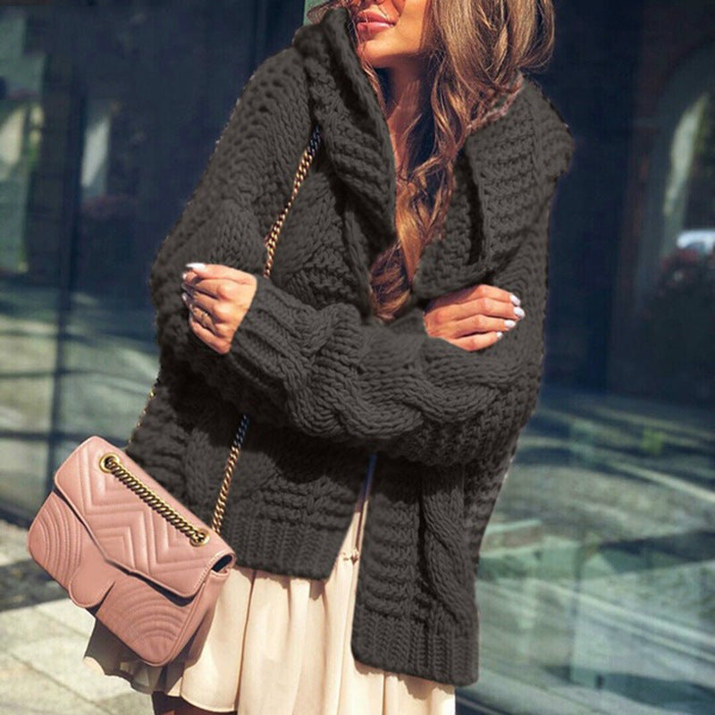 Loose Hooded Sweater Cardigan