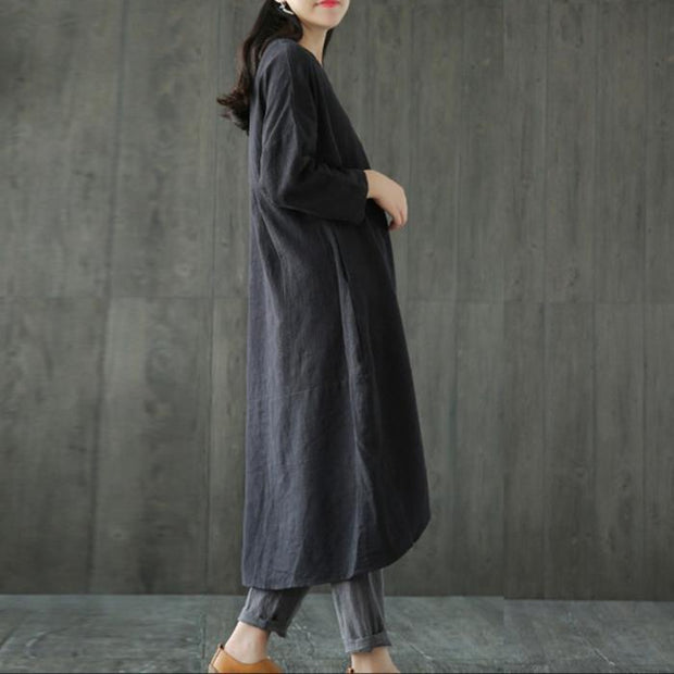 Oversized Casual Cotton And Linen Loose Dress