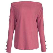 Load image into Gallery viewer, Casual Off-Shoulder Solid Color Sweatershirt