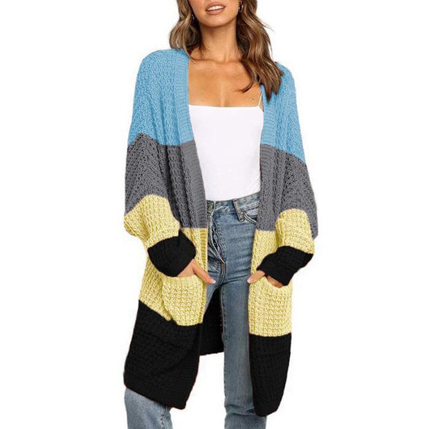 Casual Color Block Stitching Sweater Cardigan