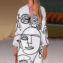 Load image into Gallery viewer, Long Sleeve Printed V Neck Shift Dress