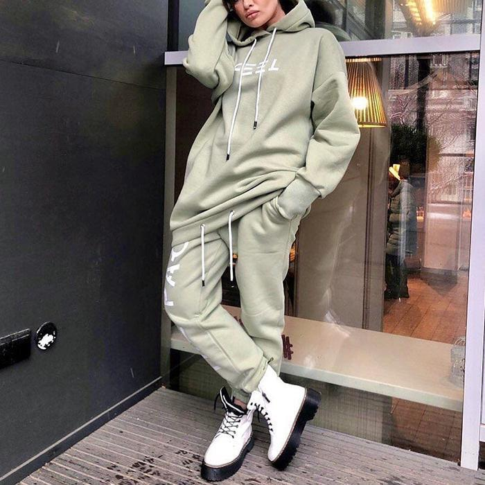 Sports Casual Hooded Pant Set