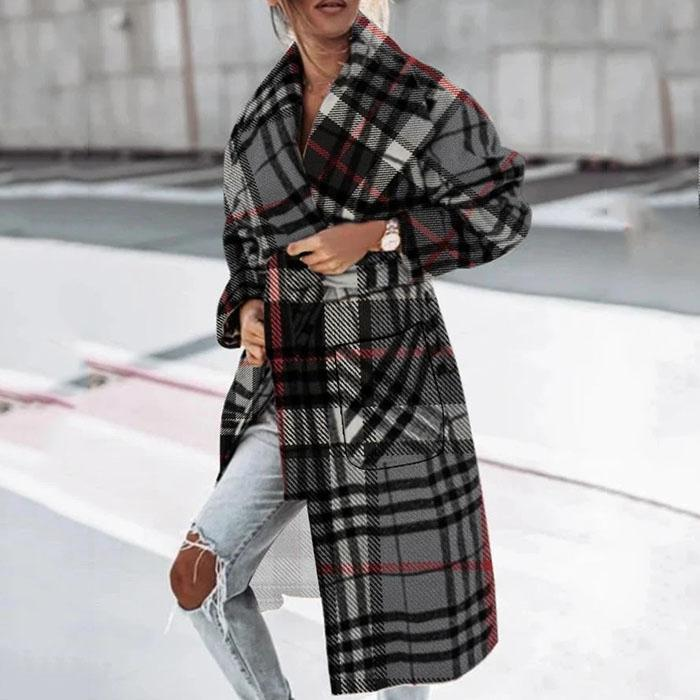 Casual Personality Plaid Long-sleeved Jacket