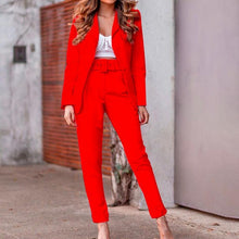 Load image into Gallery viewer, Women Solid Blazer Suit Sets