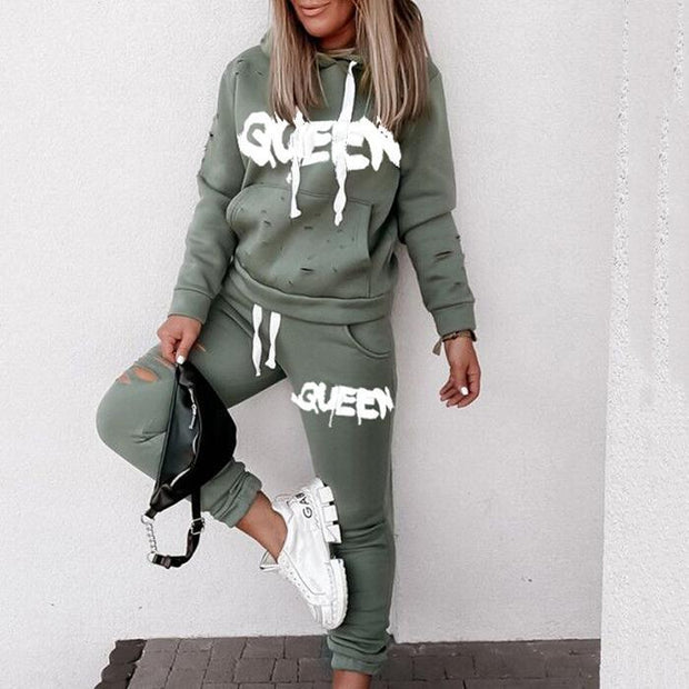 Women's Fashion Casual Print Hoodie Suit