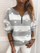 Load image into Gallery viewer, Casual Star Print Zipper Sweatershirt