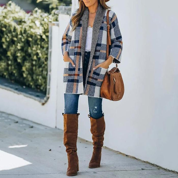 Pocket Design Long Sleeve Plaid Cardigan