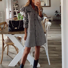 Load image into Gallery viewer, Houndstooth Dress With Buttons And Wood Ears