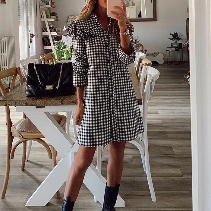 Houndstooth Dress With Buttons And Wood Ears