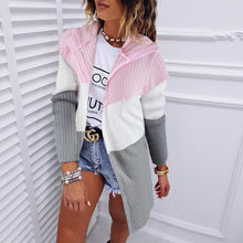 Load image into Gallery viewer, Colorful Sweet Hooded Mid-Length Thin Knit Coat