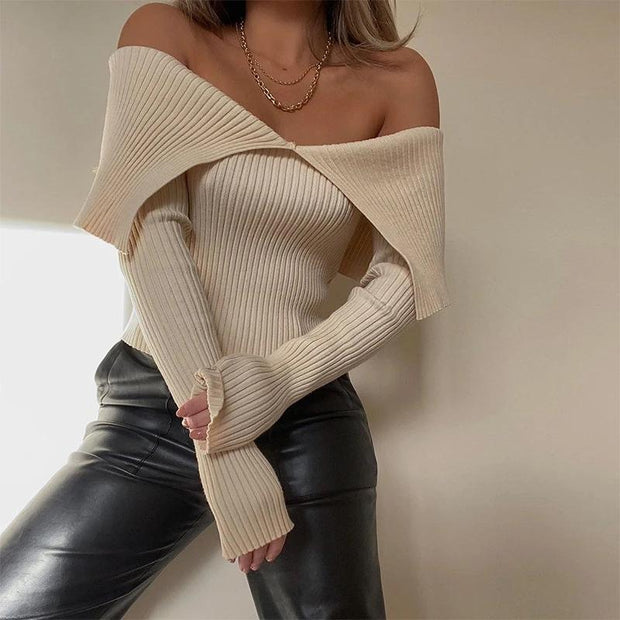 Sexy Strapless Lapel Solid Color Sweater
