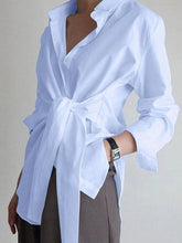 Load image into Gallery viewer, Solid Color Loose Tie Blouse