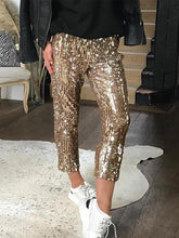 Load image into Gallery viewer, Sequin Casual Capri Pants