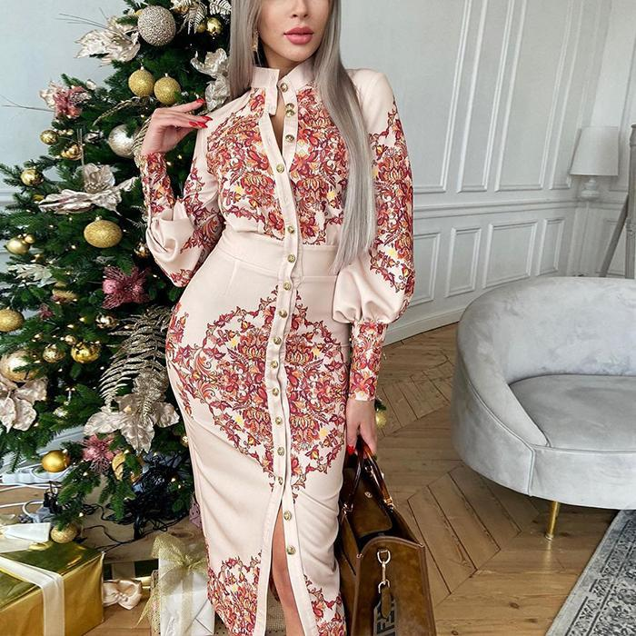 Printed Stand Collar Long Sleeve Dress