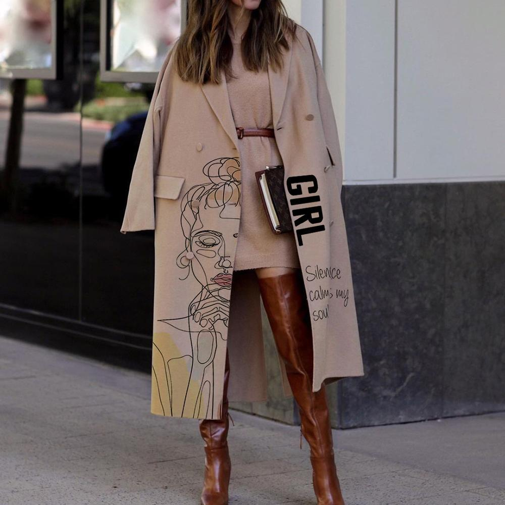 Fashion simple girl letter print long coat