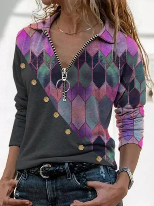 Lapel Casual Pullover Top