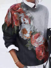 Load image into Gallery viewer, Flower Printed Color Block Long Sleeve Tops