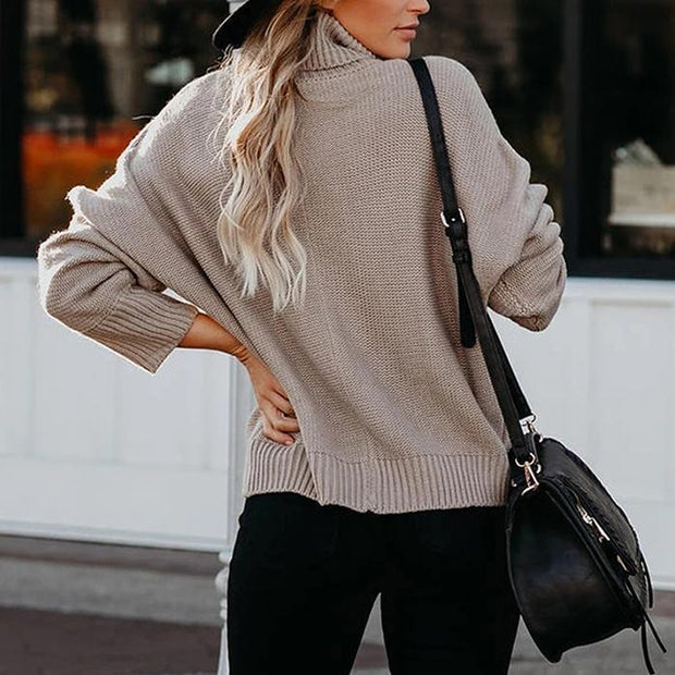 Solid Color Turtleneck Sweater