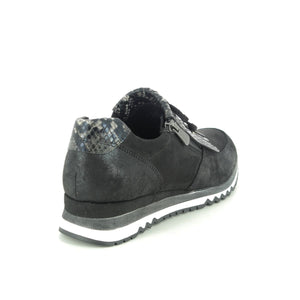 Marco Tozzi Black trainers with snake print.