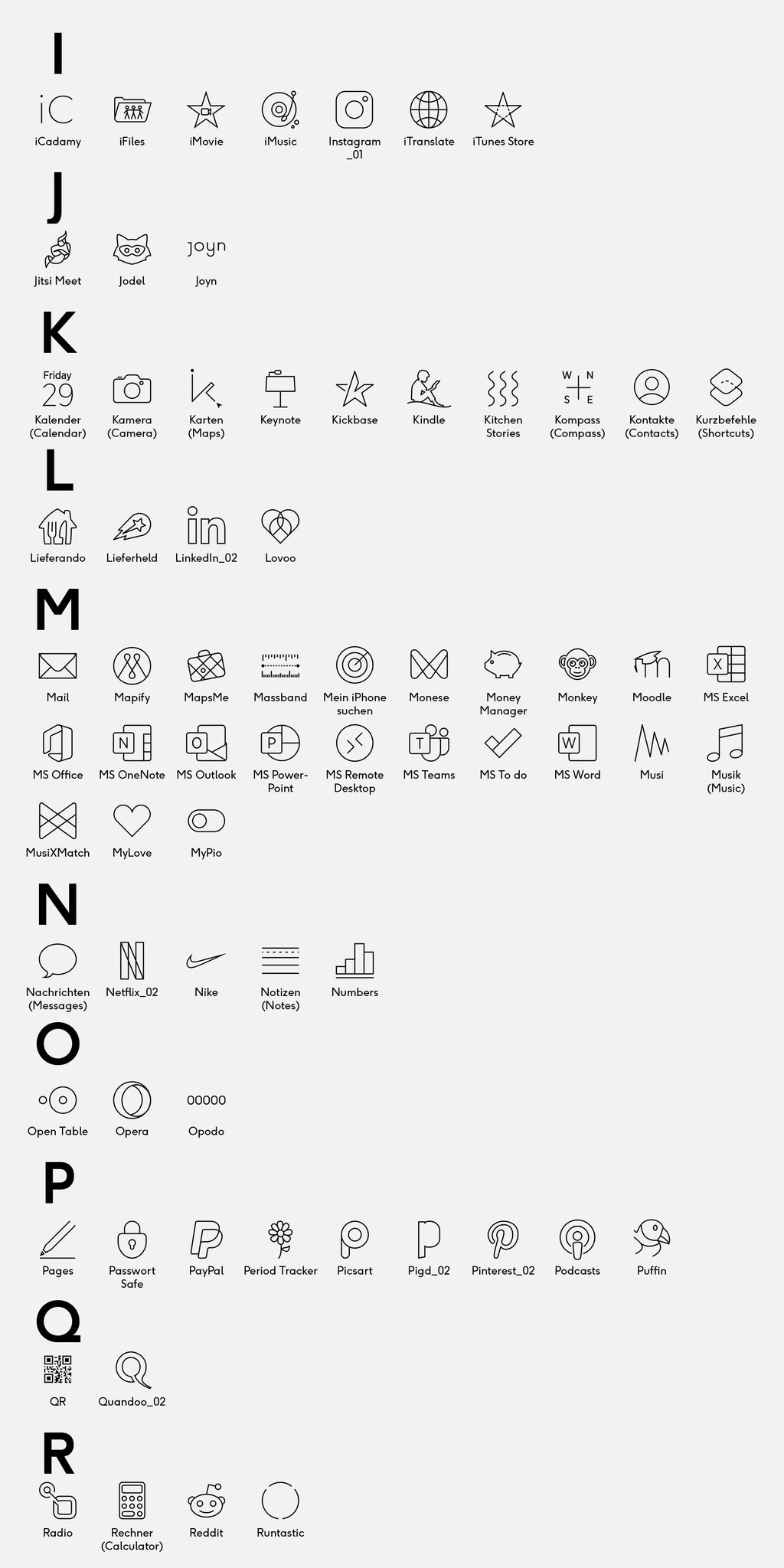 list of 205 icons
