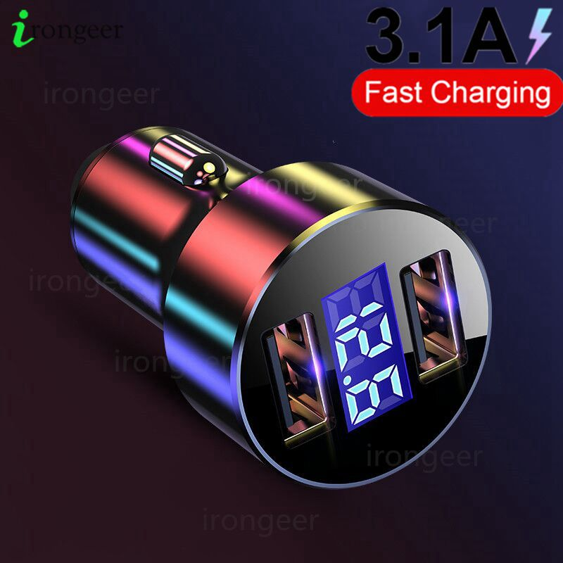 LED Display USB Phone Car Charger