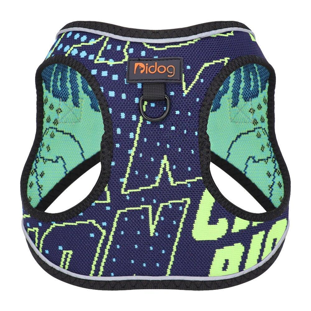 Mesh Nylon Dog Harness Reflective Dogs Cat Vest Harnesses Small Medium Dogs Cats Printed Vests Pitbull Chihuahua Yorkshire - Love Pawz
