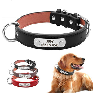 Personalized PU Leather Dog Collar - Love Pawz