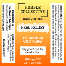 Load image into Gallery viewer, 'Head Relief' Full Spectrum Roller (100 mg CBD, 10 mL)