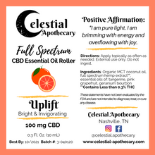 Load image into Gallery viewer, 'Uplift' Full Spectrum Roller (100 mg CBD, 10 mL)