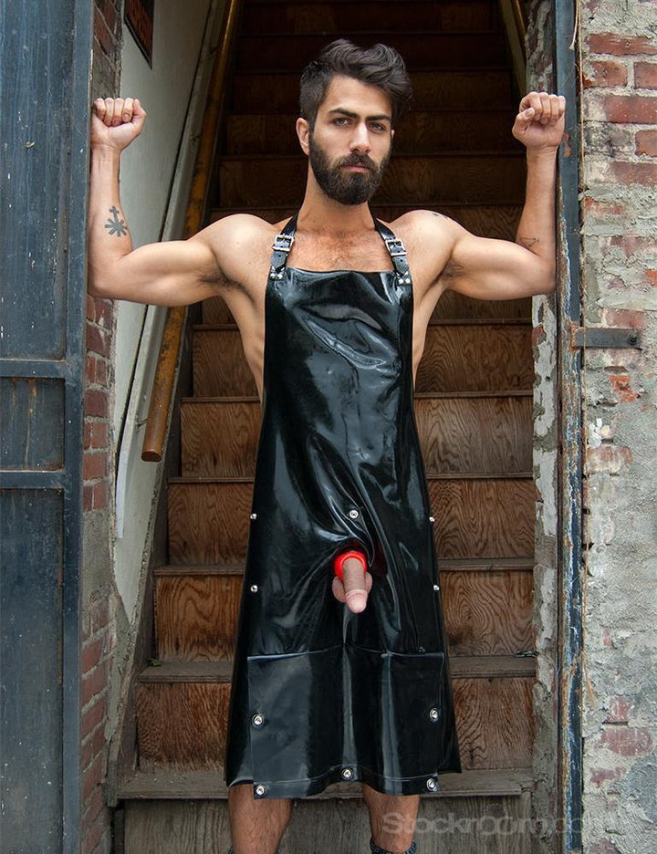 Rubber Apron with Cockhole and Pocket-The Stockroom