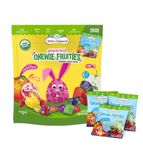 organic chewie fruities easter assorted flavors - 20 snack packs