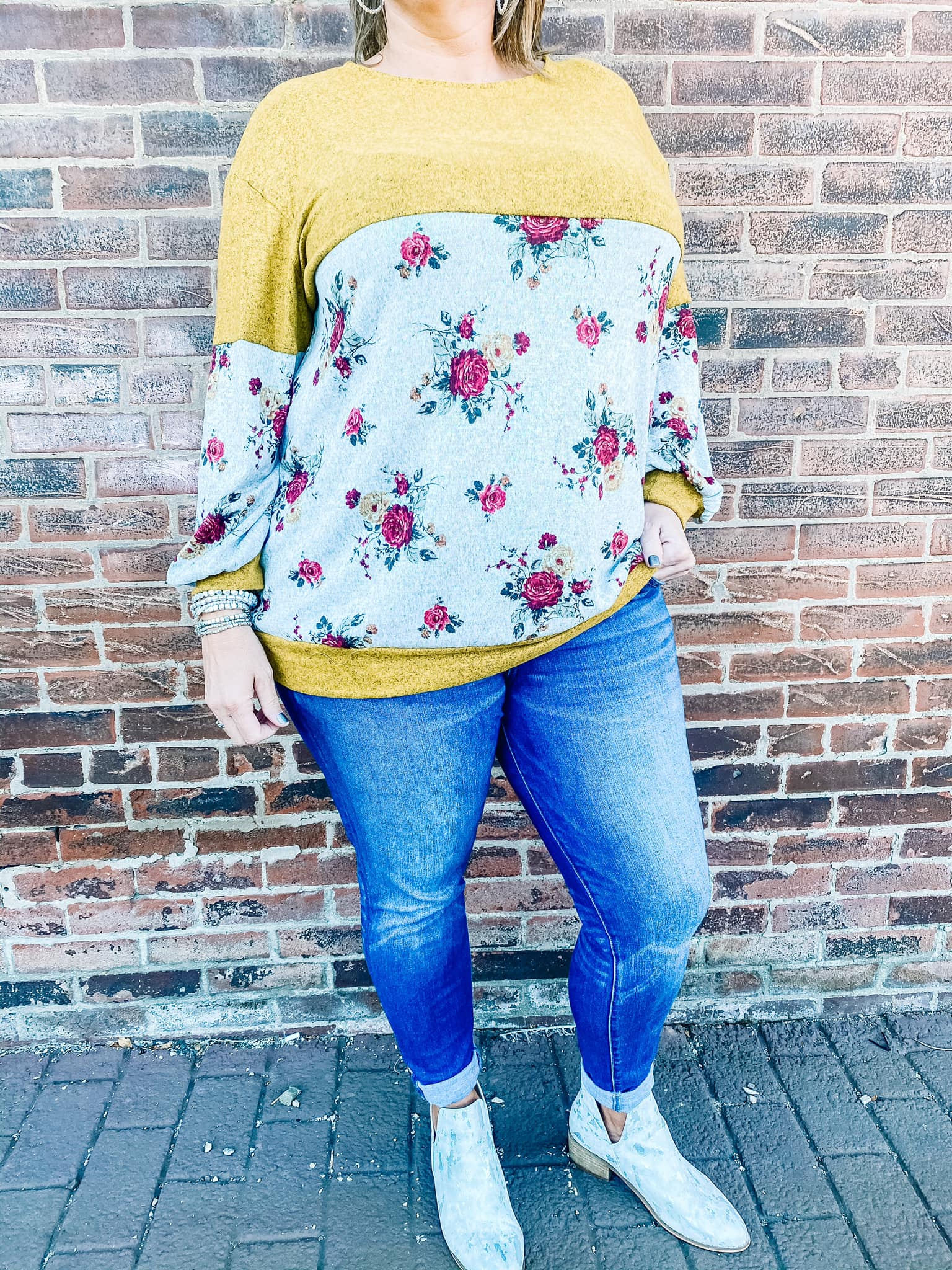 Plus Size Floral Color Block Top
